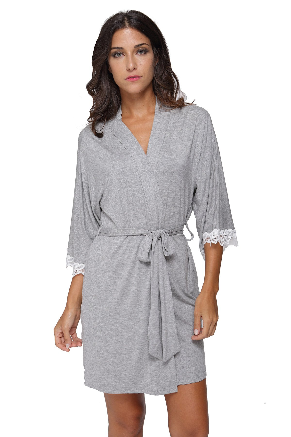 Women's Kimono Robe Soft Short Modal Cotton Bathrobe for Bride and Bridesmaid with Lace Trim