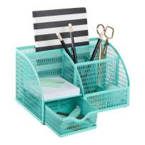 Blu Monaco Aqua Desk Organizer - Girly Cute Aqua Turquoise Desk Accessories - Storage for School Locker Bedroom or Home - Stationary Holder