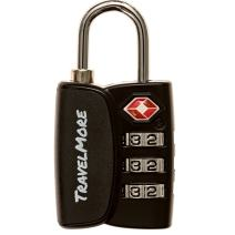 1 Pack Open Alert Indicator TSA Approved 3 Digit Luggage Lock for Travel Suitcase & Baggage (Black)