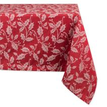 "DII CAMZ35890  52x52"" Square Cotton Tablecloth, Holly Flourish - Perfect for Dinner Parties, Christmas, Holidays, or Everyday use"