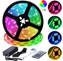 LED Strip Lights, HengBo 16.4ft 5m Waterproof RGB Color Changing Rope Lighting, SMD 5050 Flexible Tape Lights with 44 Key IR Remote Controller Power Supply for Bedroom, Kitchen