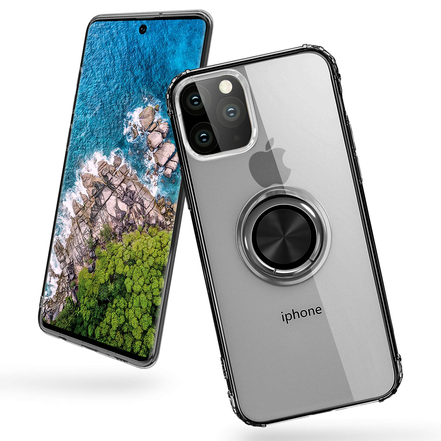 iPhone 11 Pro Max Case,Transparent Slim Soft TPU Reinforced Corner Shock-Absorbing Protective Case [One-Click for Poping Out] with 360 Degree Rotation Ring Holder Stand for iPhone 11 Pro Max,Black