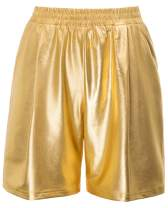 Kate Kasin Women's Fashion Shinny Metallic Shorts Elastic Waist Short Pants