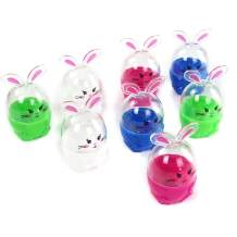 Athoinsu 8 pcs 4'' Plastic Easter Eggs Kit Bunny Shaped Toothpick Holder Colorful Fillable Rabbit Detachable Chicks Candies Container