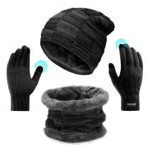 Winter Beanie Hat Scarf Gloves, Slouchy Beanie Set with Touch Screen Gloves, Thick Knit Skull Cap for Men Women (Black)