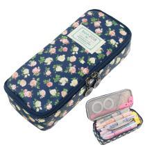 Twinkle Club Floral Pencil Case Pencil Pouch Cute School Supplies Pen Holder for Girls Cyan
