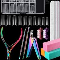 Acrylic Nail Clipper Kit, Included Acrylic Nail Cutter, 100 Pieces Acrylic Nail Tips, Cuticle Nipper, Cuticle Pusher Remover, Nail Tip Clipper, Nail File Buffer Blocks, Nail Brushes (Clear Color)