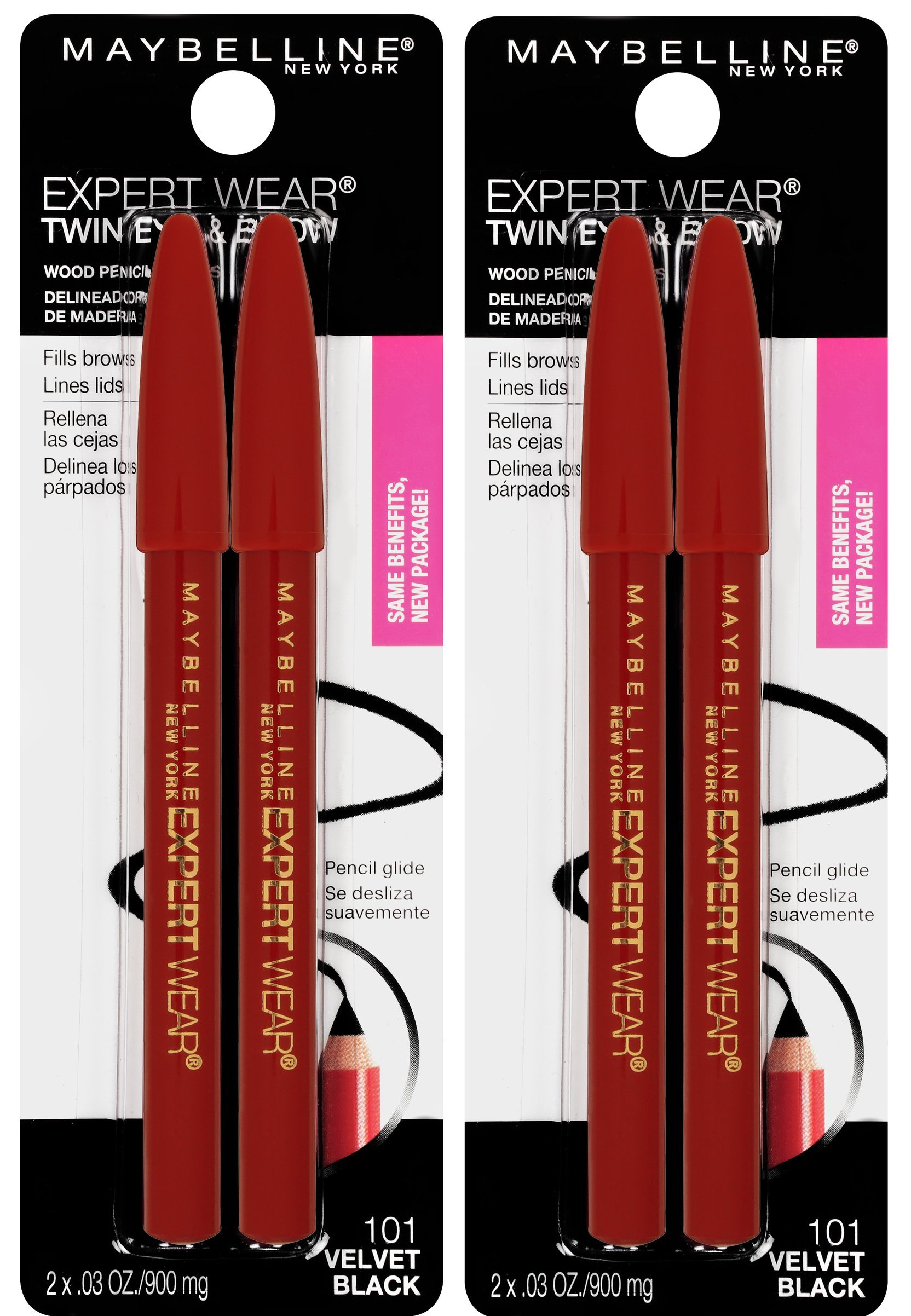 Maybelline New York Expert Wear Twin Brow & Eye Pencils Makeup, Velvet Black, 2 Count Twin (total 4 pencils ), 2 Count (Pack of 2)
