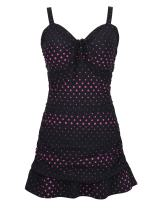 Septangle Women's One Piece Polka Dot Body Shaping Ruffled Hem Swimdress