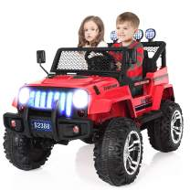 Kuntai Kids Electric Car, 2 Seater Battery Powered Car for Kids,Kids Ride on Car with Remote Control, LED Lights, MP3 Player, Safety Belt, Spring Suspension, Dual Drive Red