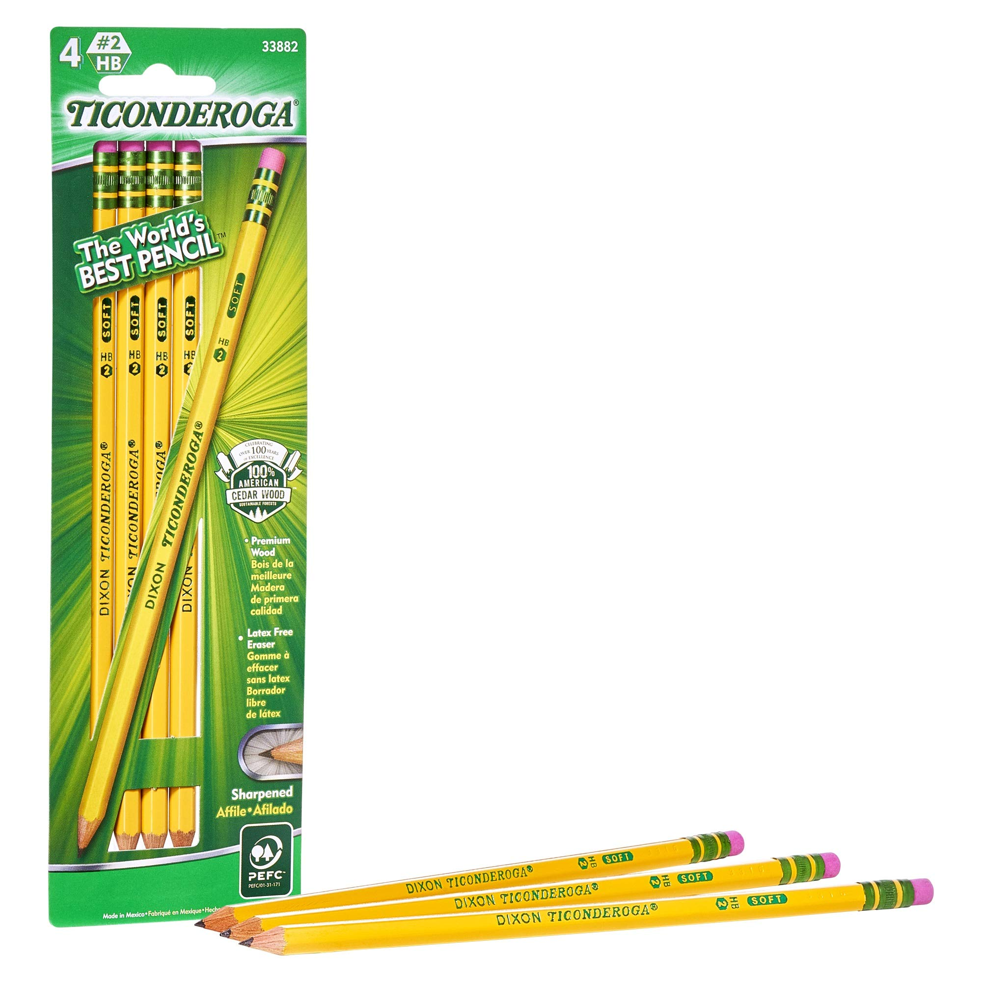 TICONDEROGA Pencils, Wood-Cased, Pre-Sharpened, Graphite #2 HB Soft, Yellow, 4-Pack (33882)