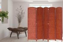 Legacy Decor 5 Panels Room Divider Screen Weaved Bamboo Fiber Honey Color 5.9 ft High X 7.3 ft Wide