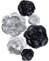 Letjolt Black Paper Flower Decorations for Wall Backdrop Wedding Ornaments Birthday Baby Shower Bridal Shower Nursery Wall(Silver Black Set 6)