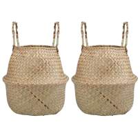 Yesland 2 Pack Woven Seagrass Plant Basket with Handles, Ideal for Storage Plant Pot Basket, Laundry, Picnic, Plant Pot Cover, Beach Bag and Grocery Basket (M)