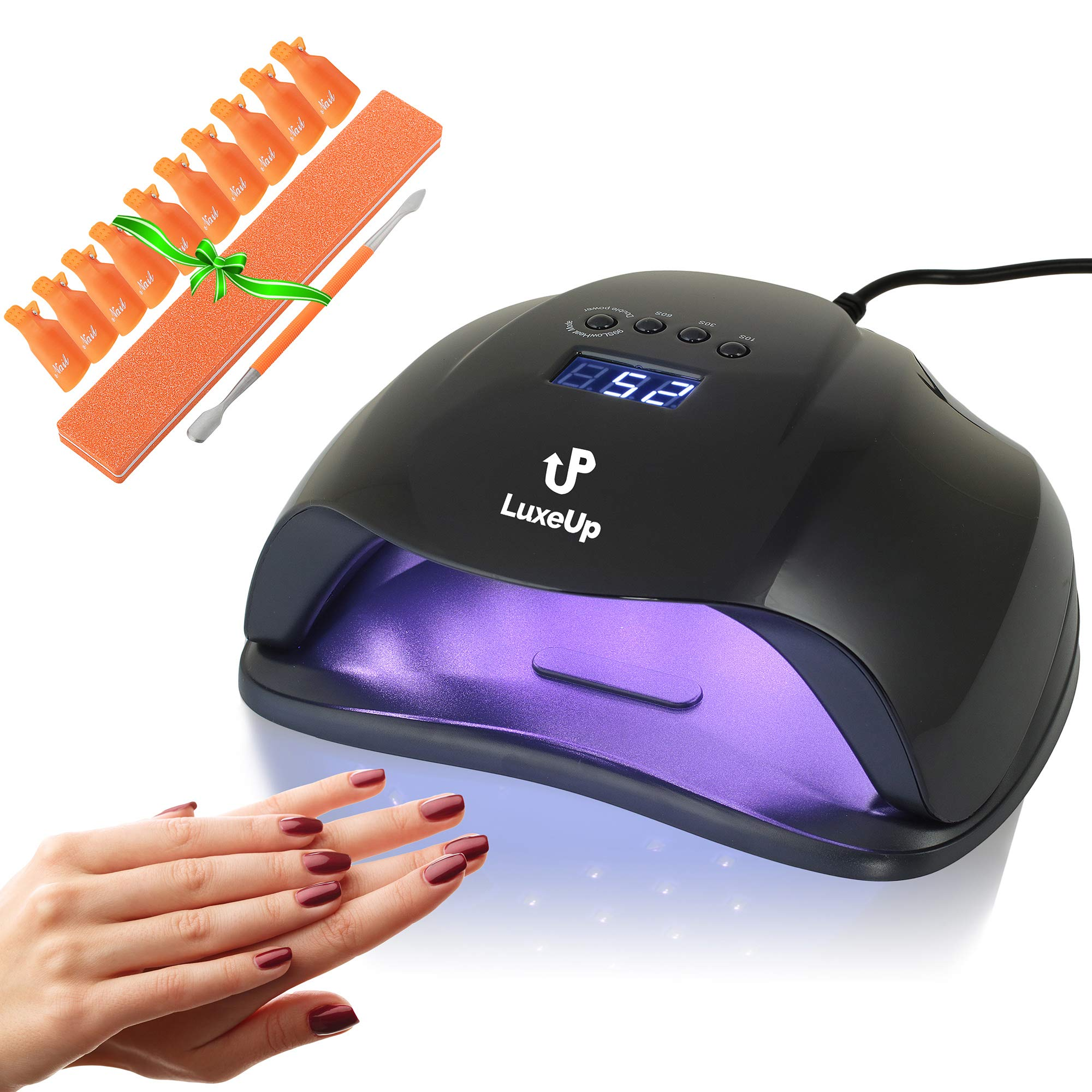 LuxeUp UV Nail Lamp Dryer 54W Upgraded Design | LED Curing Light Nail Art Lamp | Professional Dry Nail Lamp Set For Acrylic & Gel Polish (Black)