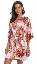 SUGAR JAN Women's Short Floral Satin Robes for Wedding Getting Ready Robe Silky Nightgowns with Pockets