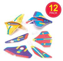 Baker Ross Mini Space Craft Rocket Flying Gliders, for Kids Toys, Party Bag Fillers, Games and Prizes (Pack of 12)