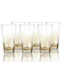 Fitz and Floyd Luster Highball Set of 6 – Elegant Lead-free Matching Drinkware Perfect For Everyday Use Or Entertaining – Stylish Modern Glasses. An Ideal Gift, 3.3x5.9, Gold