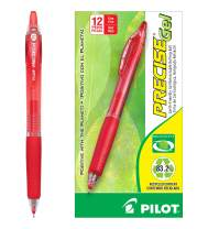 PILOT Precise Gel BeGreen Refillable & Retractable Rolling Ball Pens, Fine Point, Red Ink, 12 Count (15003)