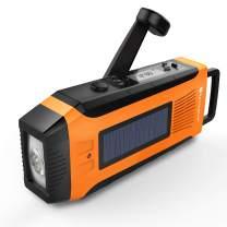 RunningSnail AM/FM NOAA Weather Emergency Solar Digital Crank Radio with 3W LED Flashlight, SOS Alarm & 2000MAh Power Bank(Orange) …