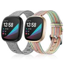 Maledan Bands Compatible with Fitbit Versa 3 and Sense Women Men, Woven Fabric Accessories Strap Wrist Band Compatible with Fitbit Sense and Versa 3 Smartwatch, Large, 2-Pack Rainbow/Gray