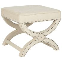 Safavieh MCR4645 Mystic Upholstered Ottoman Color: Cream