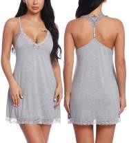 RSLOVE Women Lace Lingerie Sleepwear Chemises V-Neck Full Slip Babydoll Nightgown Dress