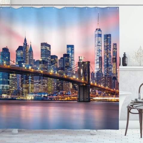 "Ambesonne New York Shower Curtain, Brooklyn Bridge and Lower Manhattan Skyline Under Pink Sunrise Long Exposure Art Image, Cloth Fabric Bathroom Decor Set with Hooks, 84"" Long Extra, Blue Pink"