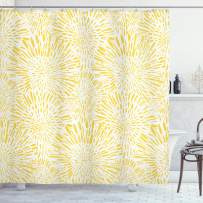 """Ambesonne Yellow Shower Curtain, Hand Drawn Vintage Floral Pattern with Dandelions Asters Abstract Blossoms Nature, Cloth Fabric Bathroom Decor Set with Hooks, 75"""" Long, Yellow White"""