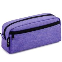 Big Capacity Pencil Case Stationery Pouch,Multi-Colored Pen Pouch,Cosmetic Pouch Bag, Pen Bag with Zipper Bag for Boy Girl (Purple)