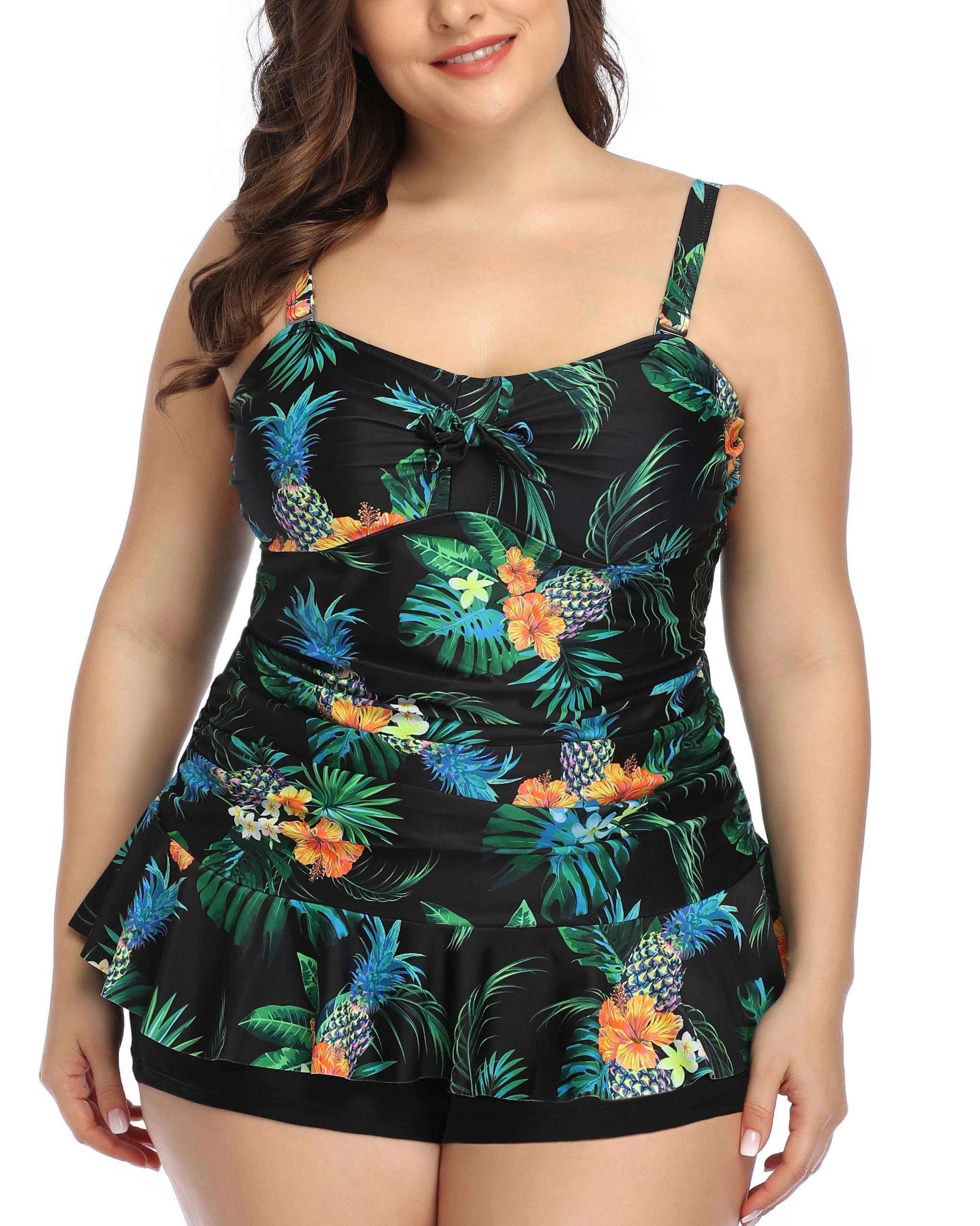 Daci Women Plus Size Ruched Tankini Retro Padded Swimsuit Ruffle Hem Top with Black Boyshort