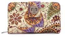 Malirona Women's Canvas Wallet Bohemian Style Purse Clutch Bag Multi Card Case Wallet with Zipper Pocket (Yellow Flower)