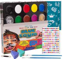 Blue Squid Face Paint for Kids, 193 Pieces, 8 Color, 30 Stencils, Brushes, Gems, Sponges & Applicator, Best Value Quality Party Pack for Kids, Safe Facepainting for Sensitive Skin, Quality Water Based