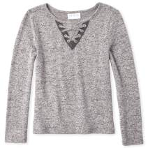 The Children's Place Girls' Big Solid Long Sleeve Lace Front Sweater