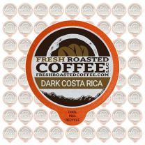 Fresh Roasted Coffee LLC, Dark Costa Rica Tarrazu Coffee Pods, Dark Roast, Single Origin, Capsules Compatible with 1.0 & 2.0 Single-Serve Brewers, 72 Count