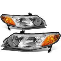 Pair of Chrome Housing Amber Corner Headlight for Honda Civic Sedan 4-Door 06 07 08 09 10 11