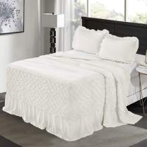 HIG 3-Piece Pintuck Ivory King Ruffle Skirt Bedspread with 2 Shams - French Country Style - 100% Brushed Cotton - Feel Microfiber - Durable & Elegant - Hypoallergenic & Breathable Coverlets(Larissa)