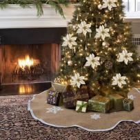 OurWarm Burlap Christmas Tree Skirt 48 Inch Rustic Tree Skirt White Snowflake Printed Vintage Christmas Decorations