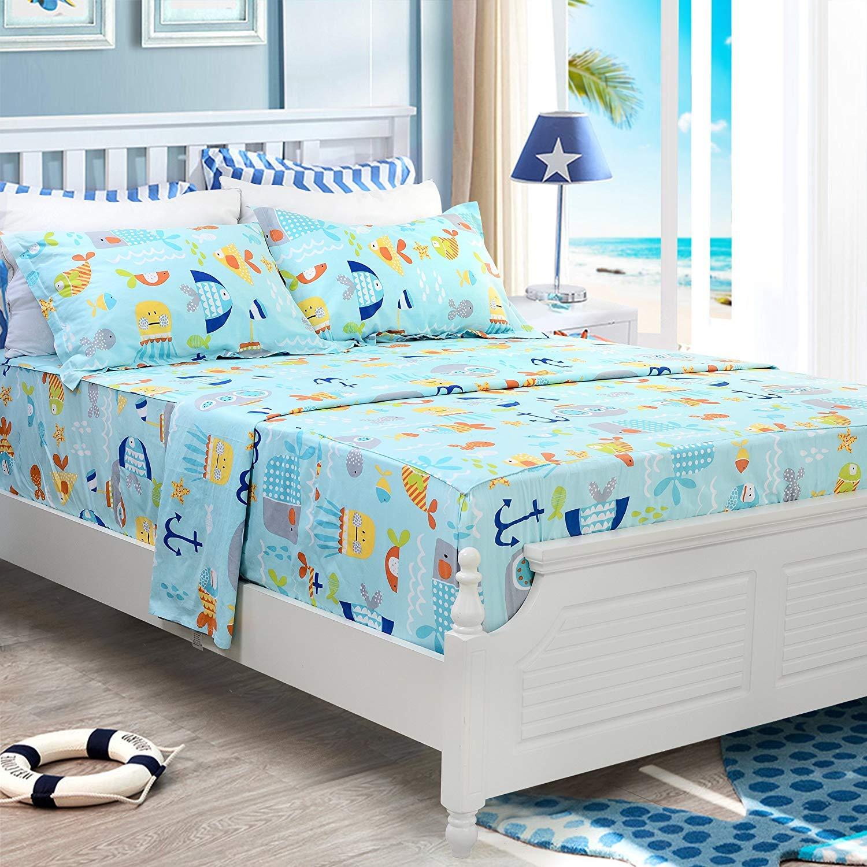 Brandream Kids Boys Bedding Set Full Size Sheets Set Deep Pockets Blue Nautical Summer Sheets 100% Cotton Flat Sheet Fitted Sheet Pillow Cases Set