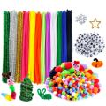 Caydo 600 Pieces Pipe Cleaners Pompoms Set, Including 120 Pieces 12 Colors Pipe Cleaners, 360 Pieces 6 Size Pom Poms and 120 Pieces 4 Size Wiggle Eyes for Craft DIY Art Supplies