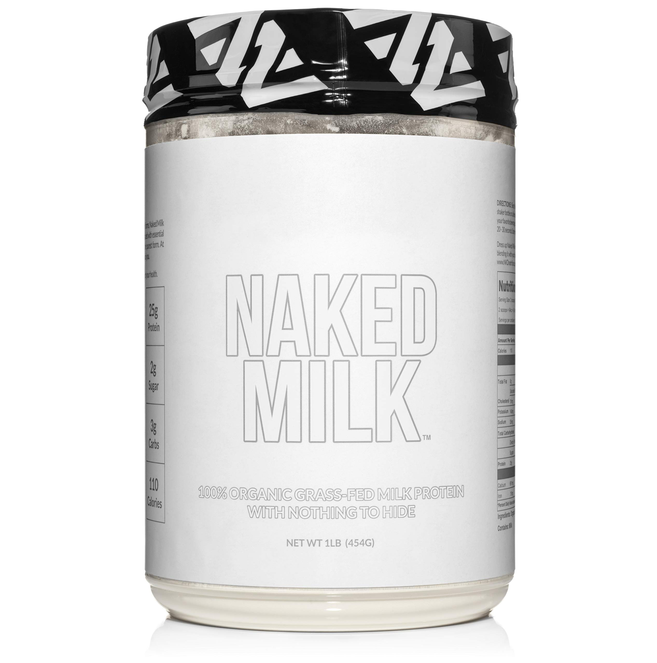 Naked Milk - 1LB 100% Organic Milk Protein Concentrate from US Farms – Whey and Casein - GMO Free, Preservative Free - Enhance Muscle Growth - Promote Maximum Recovery - 15 Servings