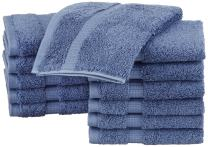 Pinzon Organic Cotton Bathroom Washcloths, Set of 12, Indigo Blue