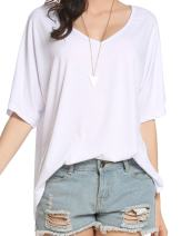 Beyove Women's Casual Short & Long Sleeve Sexy V Neck Side Slits Loose Pullover Top Blouse T-Shirt