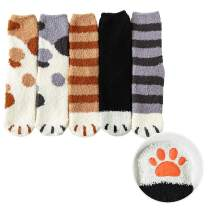 Women Girls Cute Kitty Cat Paws Slipper Socks with Grippers - Fuzzy Anti-Skid Socks(5 Pairs)