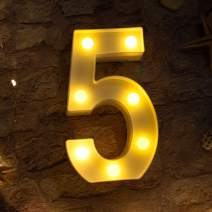 Brightown Decorative LED Marquee Light Up Number Letters Sign Night Light Party Wedding Birthday Party Christmas Lamp Home Bar Decor Battery Operated (5)