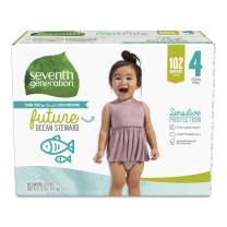 Seventh Generation Baby Diapers, Sensitive Protection, Size 4, 102 Count