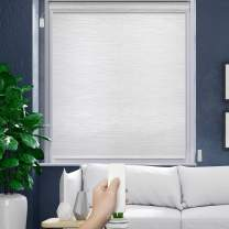 """GoDear Design Deluxe Motorized Roller Shade with Cassette Valance, Battery Operated and Remote Controlled, 27"""" x 72"""", 100% Blackout, Snow"""