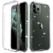 iPhone 11 Pro Max Case with Built-in Screen Protector, Luxury Glitter Clear Sparkly Bling Rugged Shockproof Hybrid Slim Fit Full-Body Protective with Hard PC Bumper Case for iPhone 11 Pro Max 6.5inch