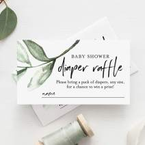 Bliss Collections Diaper Raffle Tickets for Baby Shower, Rustic Greenery Insert Cards, Eucalyptus Leaf Design for Boy, Girl or Gender Neutral, 50 Pack