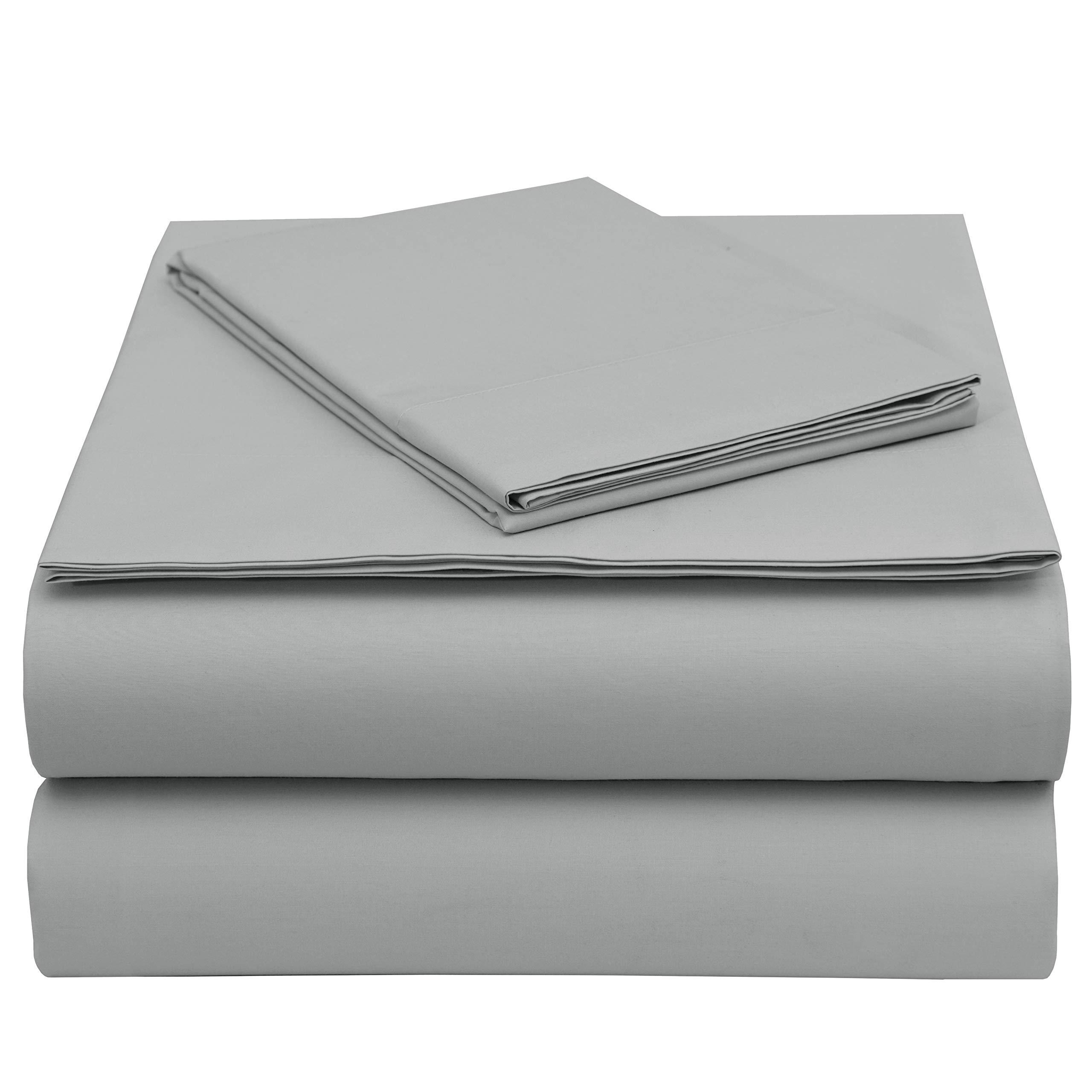 EnvioHome GOTS Certified Organic Cotton Sheet Set - 3 Piece - Twin, Silver